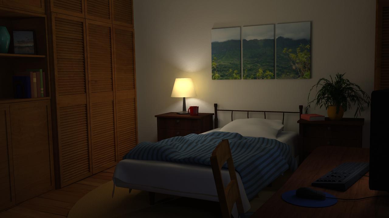 Lighting and texturing stills for Bedroom night